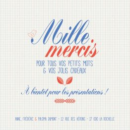 Carte de Remerciement Papier d'écolier 10,5x10,5cm par la Papeterie de Paris