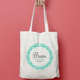 tote bag personnalisé Happy Mum, tote bag personnalisé maman, tote bag fete mère, cadeau original maman, tote bag texte maman, tote bag personnalisé pour particulier - La Papeterie de Paris