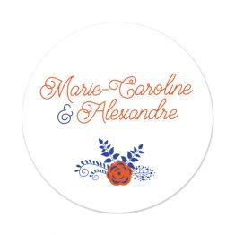 Badge Mariage Corail et Bleu, badge personnalisé mariage, cadeau original invités mariage, badge personnalisable mariage, mariage champetre, cadeaux mariage invités - La Papeterie de Paris
