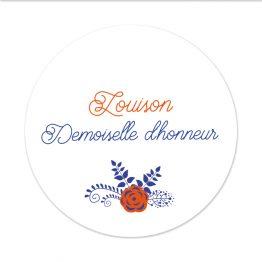Badge Mariage Témoin Corail et Bleu par la Papeterie de Paris