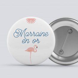 2 badges parrain marraine Flamant Rose, cadeau marraine, cadeau parrain, badge marraine, badge parrain, marraine en or, parrain extra, bapteme flamant rose, cadeau bapteme - La Papeterie de Paris