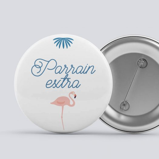 2 badges parrain marraine Flamant Rose, cadeau marraine, cadeau parrain, badge marraine, badge parrain, marraine en or, parrain extra, bapteme flamant rose, cadeau bapteme - La Papeterie de Paris