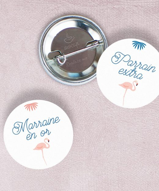 Badges Flamant rose parrain marraine par La Papeterie de Paris