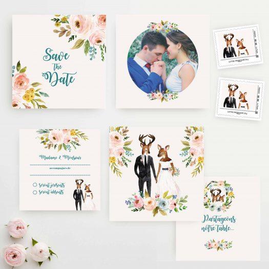 Faire part mariage fleurs champetre