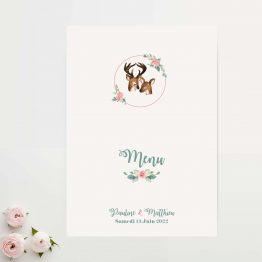 carton menu mariage fleurs