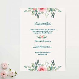 carton menu mariage aquarelle