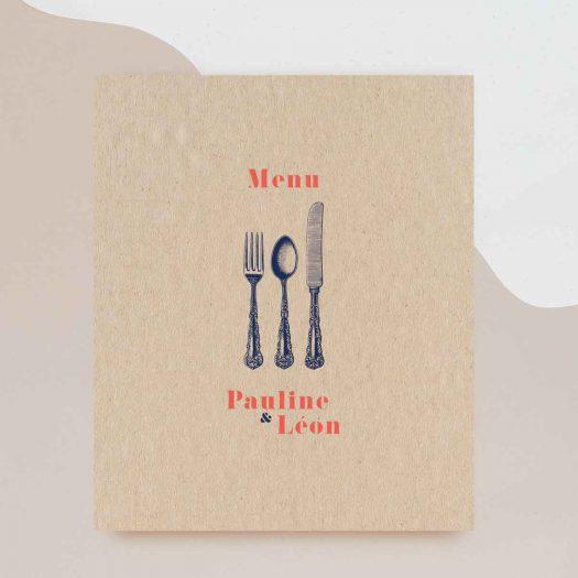 carton menu mariage vintage