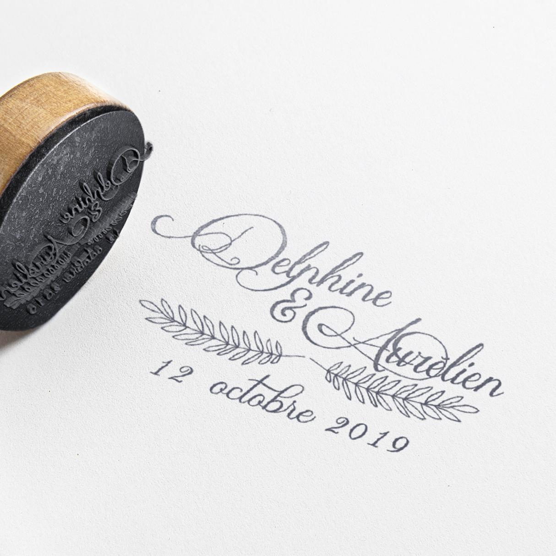 tampon personnalis233 mariage calligraphie par la papeterie