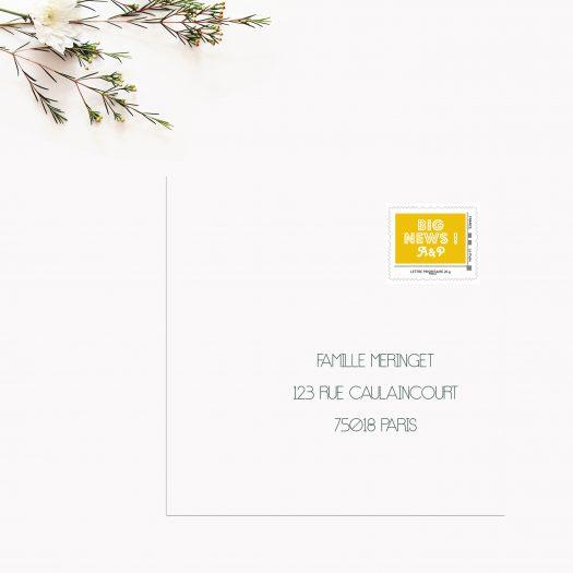 timbre personnalisé mariage Big News, timbre mariage La Poste, timbre save the date, timbre poste mariage, timbre mariage faire part, La Poste timbres jaune, Timbres mariage graphique - La Papeterie de Paris