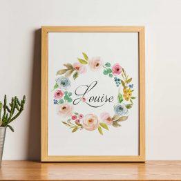 affiche couronne fleurs prénom