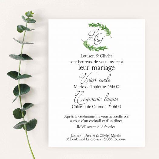 faire part mariage calligraphie eucalyptus
