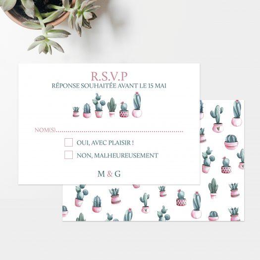 Carton réponse mariage collectionCactus par La Papeterie de Paris