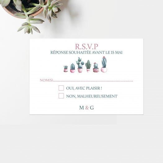 Carton réponse mariage Cactus par La Papeterie de Paris