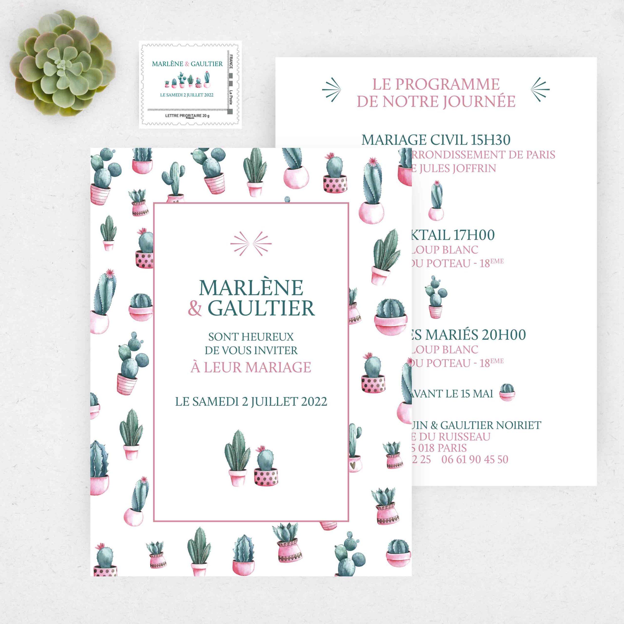 Nouveau Faire-part de mariage Cactus par La Papeterie de Paris ZV-13