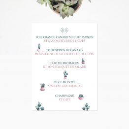 Menu de mariage cactus, papeterie mariage tropical, mariage thème champêtre, invitation mariage aquarelle, menu table mariage, mariage menu carton, menu mariage vert rose - La Papeterie de Paris