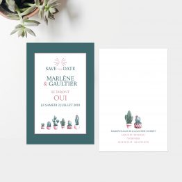 Save the Date Collection Cactus, save the date cactus, mariage thème tropical, save the date aquarelle cactus, retenez la date, save the date original - La Papeterie de Paris