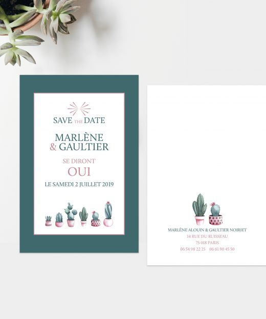 SAVE THE DATE CACTUS PAR LA PAPETERIE DE PARIS