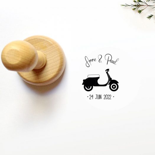 tampon mariage scooter vintage