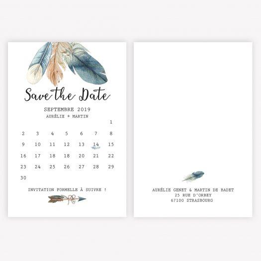 Save the Date Jolies Plumes, save the date calendrier, mariage thème bohème, save the date vintage, save the date aquarelle, retenez la date - save the date original - La Papeterie de Paris