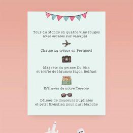 Carton menu mariage voyage