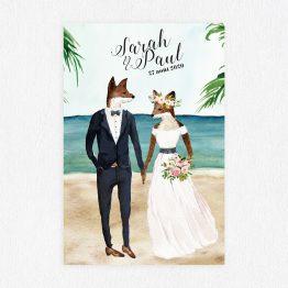 faire-part de mariage à la plage, faire-part marin, faire-part renard, faire part mariage mer, faire part mariage original, faire part mariage aquarelle - La Papeterie de Paris