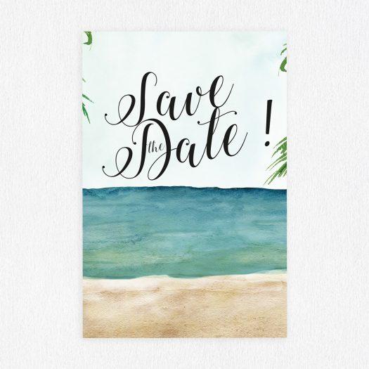 Save the Date à la plage, save the date marin, save the date mer, retenez la date carte, save the date vintage, save the date aquarelle, save the date renards, papeterie mariage original - La Papeterie de Paris
