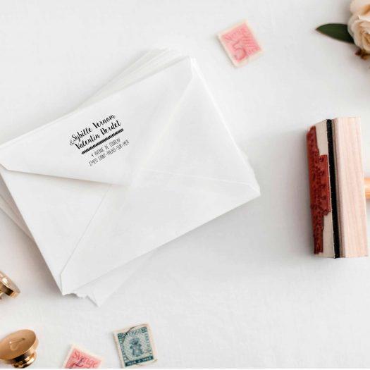 Tampon bois adresse enveloppe