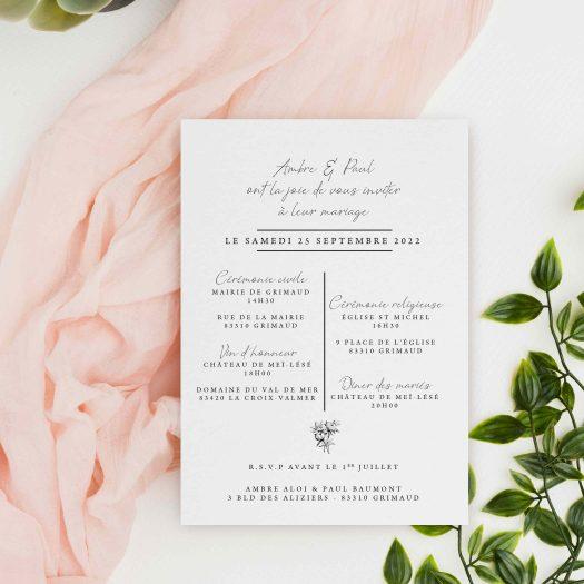 faire part mariage fleurs