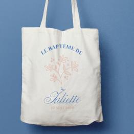 tote bag baptême champêtre, tote bag personnalisé baptême, tote bag baptême prénom, tote bag personnalisé à l'unité, baptême champêtre, cadeau original baptême, cadeau personnalisé baptême - La Papeterie de Paris