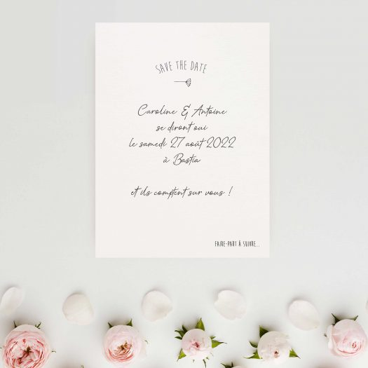 Save the date ​Mason Jar, faire-part ​chic champêtre, ​save the date ​mariage champêtre, ​save the dat​e ​calligraphie, ​save the date photo, faire part mariage ​noir et blanc - La Papeterie de Paris