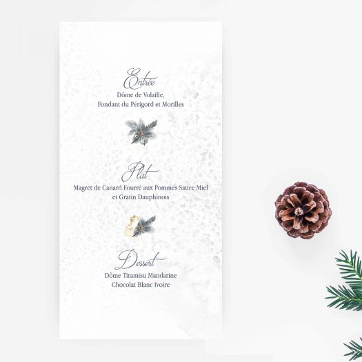 carton menu mariage hiver