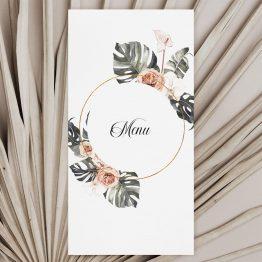 Carton menu mariage Pampa