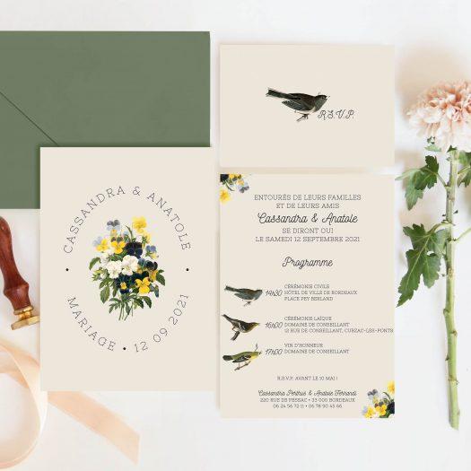 faire part mariage botanique
