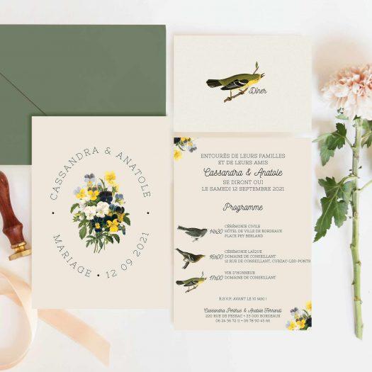 carton diner mariage champêtre