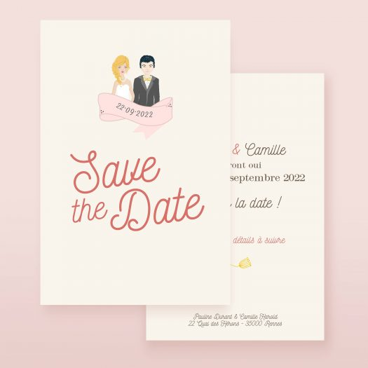 Save the date illustration couple