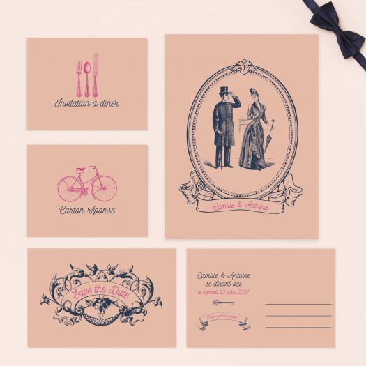 faire part mariage rose bleu