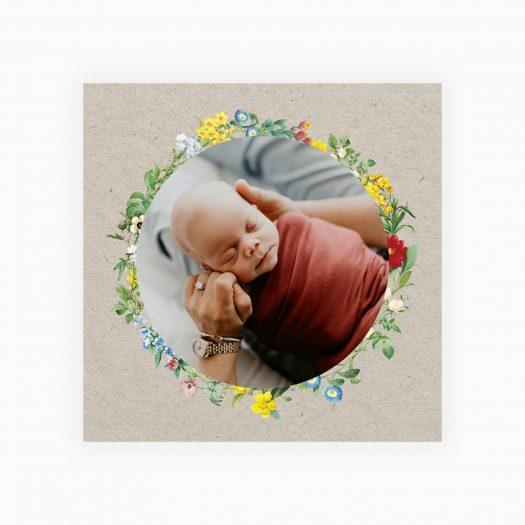 Faire part naissance fleurie kraft