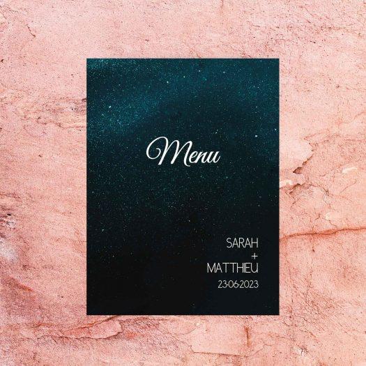 menu mariage thème étoiles