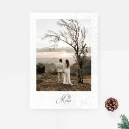carte remerciement mariage hiver