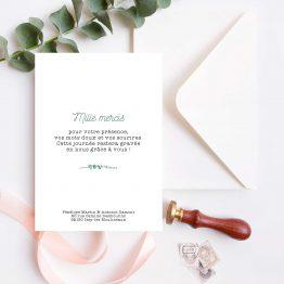 Carte de remerciement mariage personnalisee