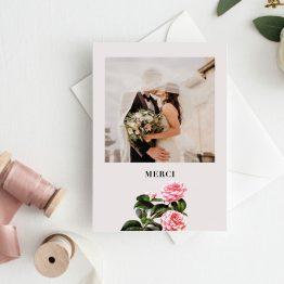 Carte merci mariage fleurs