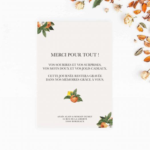 carton remerciement mariage