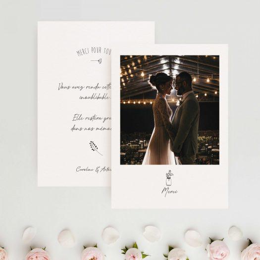 carte merci mariage chic