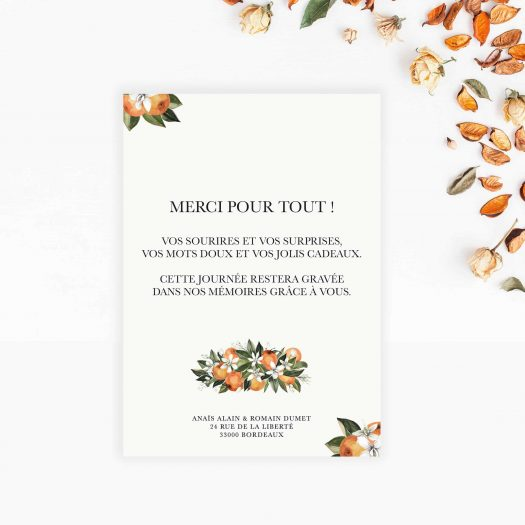 carte remerciement mariage personnalisable