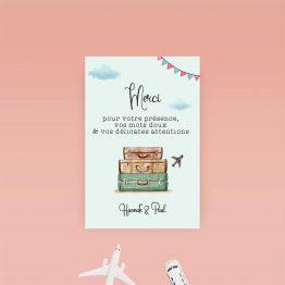 carte remerciement mariage thème voyage
