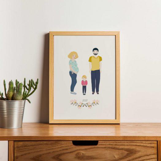 Illustration famille femme enceinte