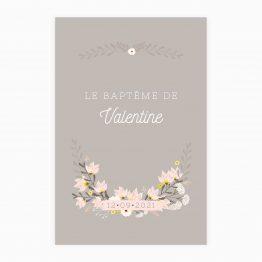 invitation bapteme fleurs