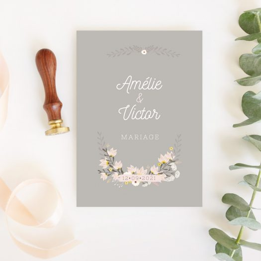 faire part mariage champetre fleurs