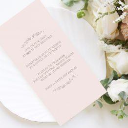 carton menu mariage rétro