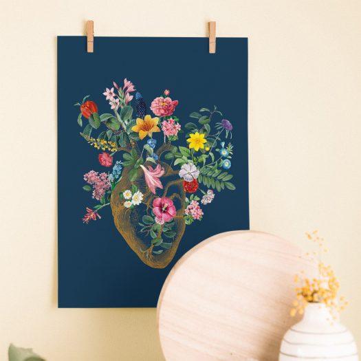 Poster coeur fleurs